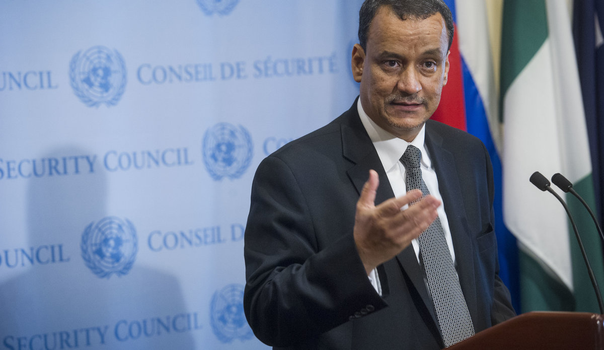 UN Special Envoy for Yemen Ismail Ould Sheikh Ahmed Media Stake Out