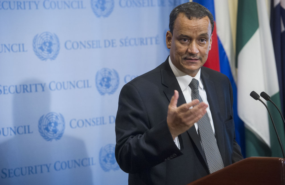 Yemen Special Envoy Ismail Ould Cheikh Ahmed Talking to the Press. October 2015. UN Photo/Amanda Voisard